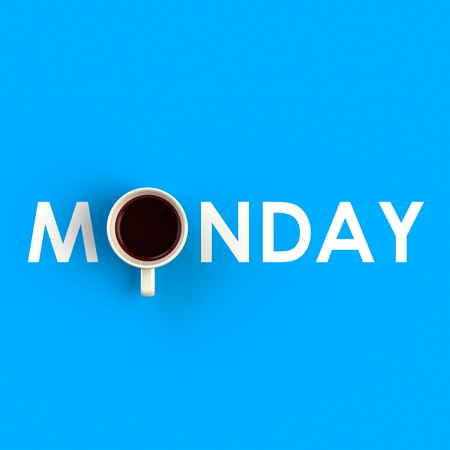 Top view of a cup of coffee in the form of monday isolated on blue background, Coffee concept illustration, 3d rendering