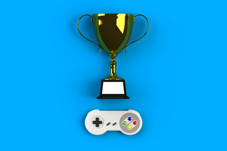 Video game console GamePad. Gaming concept. Top view retro joystick with trophy isolated on blue background, 3D rendering