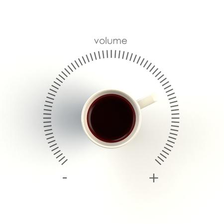 Vista dall'alto di una tazza di caffè sotto forma di controllo del volume isolato su sfondo bianco, illustrazione del concetto di caffè, rendering 3d Archivio Fotografico