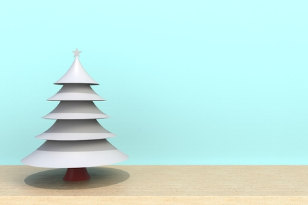 Christmas tree on wooden table in front of blue background. Christmas holiday celebration concept, 3D rendering 스톡 콘텐츠