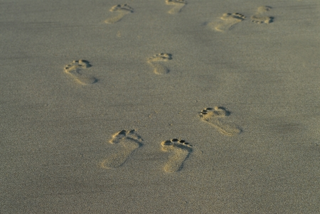 Footprint on patern of sand at the sea. photo