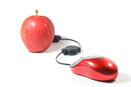 apple computer: Computer Mouse and red apple on white background Stock Photo