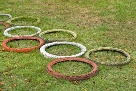used tires for playground photo