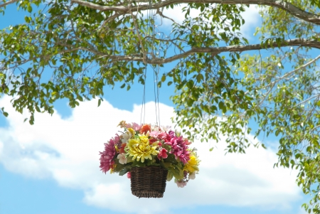 basket of artificial flowers  hanging with brach of tree photo