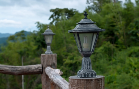 lighting fixture with landscape background Stock Photo