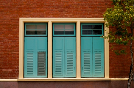 wooden  windows on old building