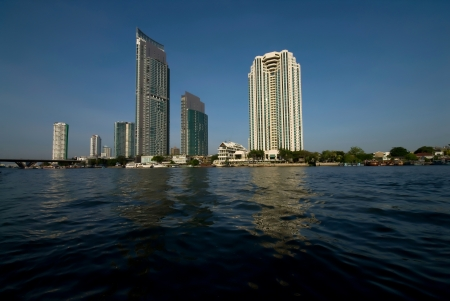 cityscape of  bangkok at chao phraya river,thailand