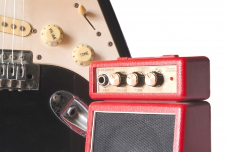amplifier  with electric guitar Stock Photo - 15808535