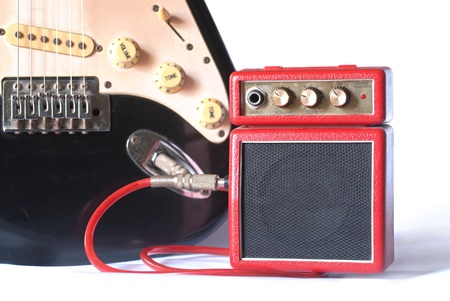 amplifier  with electric guitar photo