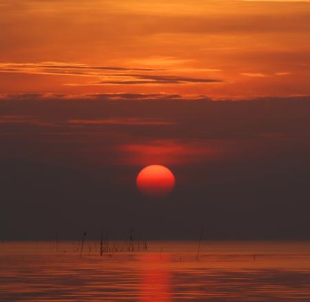 peaceful background: sunrise and reflex on the sea