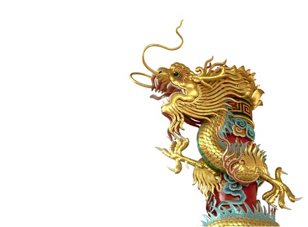 chinese style dragon statue isolate on white background  photo
