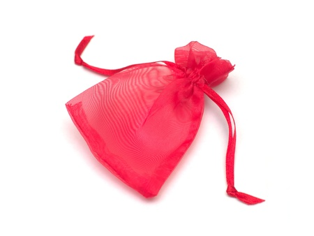 red cloth bag on white background photo