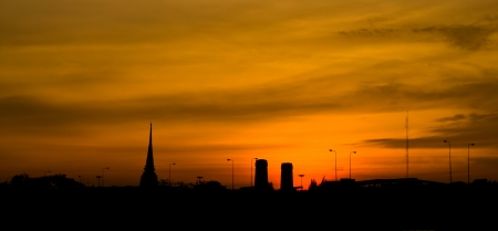 silhouette of bangkok in twilight time
