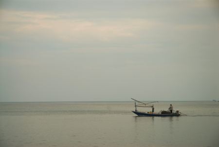 Small fishing boats on the sea, Thailand photo