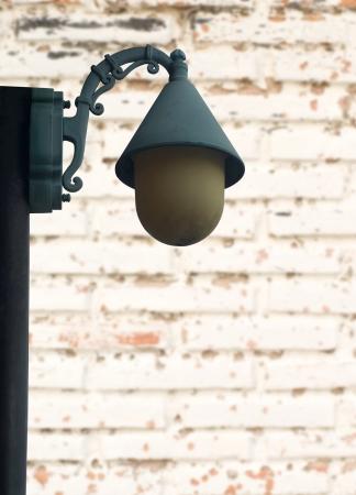 lantern street light on white brick wall Stock Photo - 18824673