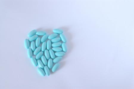 cerulean: closeup of cerulean medicine pills in heart shape