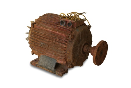 rusty electric motor on white background Stock Photo - 19829948