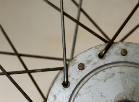 closeup of old motorcycle wheel photo