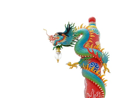 Chinese style dragon statue on white background photo