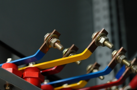 busbar: Copper busbar and screw part of an distribution panel