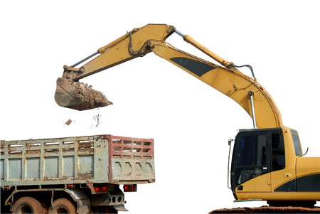 dumptruck: excavator loading stone and sand in rear-end dump