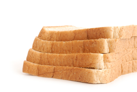 sliced bread on white background photo