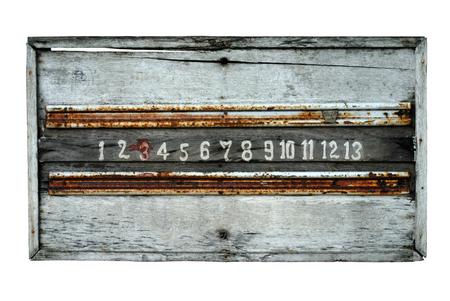 petanque: old petanque score board on white background