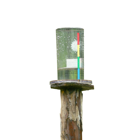 depth measurement: rain level measuring on white background Stock Photo