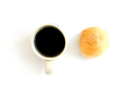 coffee in cup and dessert on white background