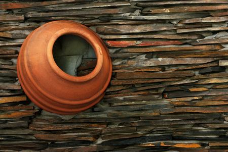 Decorative wall made with basin clay