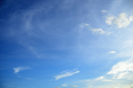 atmosphere: Fluffy white clouds on blue sky.