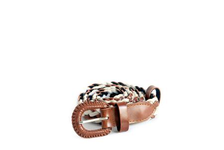 Womens leather belt isolated on white background.