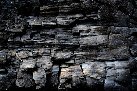 Black charcoal texture closeup for background. Stock Photo