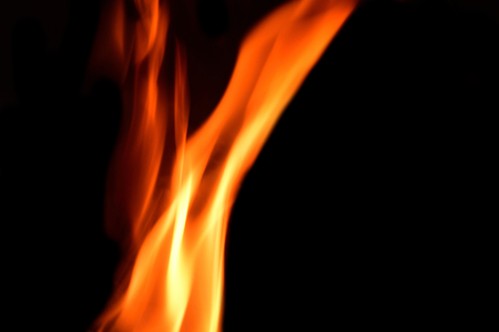 Fire flams on black background.