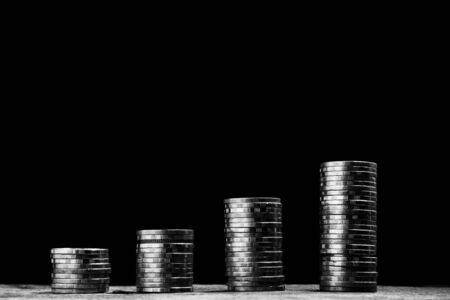 Step of coins stack increasing for business and financial concept.