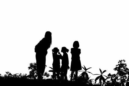 Silhouette of people with tree bush on white background.