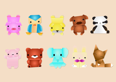 Set of animals. Cartoon and vector Vector