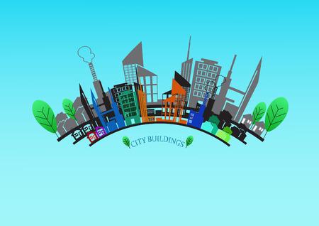 vector city building