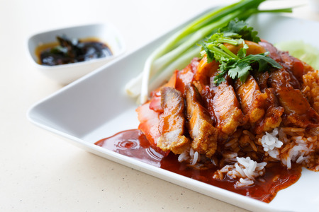 chinese food: Duck and Crispy Pork over Rice with Sweet Gravy Sauce