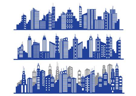 Ensemble de vecteur bleu villes silhouette