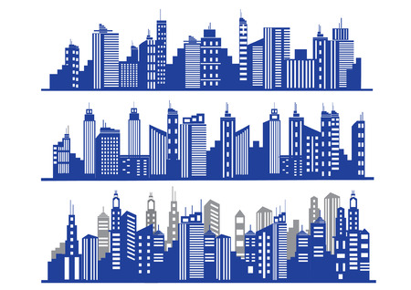Set of vector blue cities silhouette Illustration