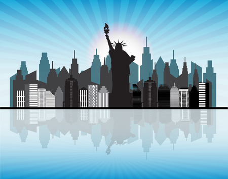 water reflection: NewYork skyline with reflection in water