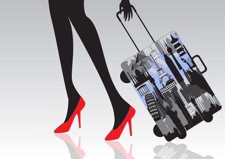 traveler: Beautiful girl traveler design over white background vector illustration Illustration