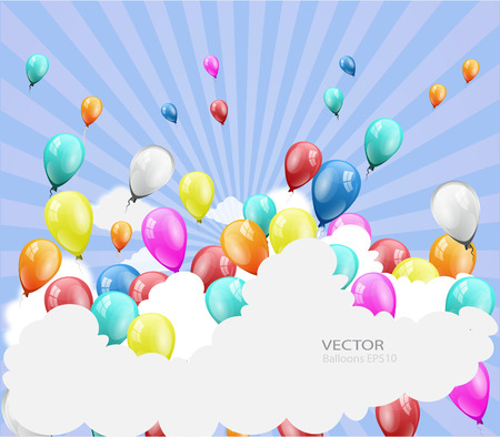beam with joy: Holiday background with balloons with place for text Illustration