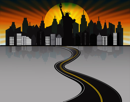 oz: city abstraction with the road Illustration