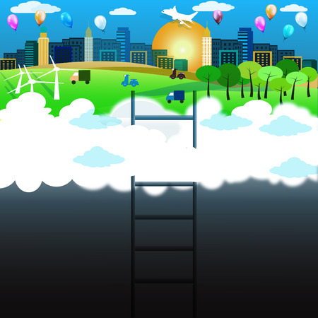 trap naar de hemel: stairway to heaven, abstract background design Stock Illustratie