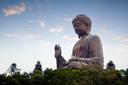 lantau: Tian tan buddha in the morniing, The worlds tallest outdoor seated bronze buddha located in hong kong Stock Photo