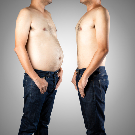slim tummy: Fat and slim man opposite each other, Isolated on gray background - Before and after diet