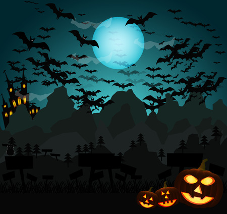 horror house: Halloween vector background with moon and bats