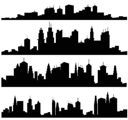 Set of vector cities silhouette Vettoriali